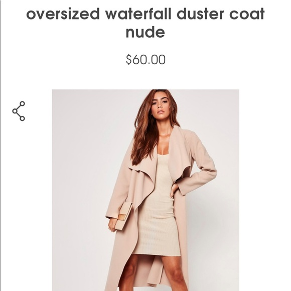 2694d56acda1b Missguided- oversized waterfall duster coat nude